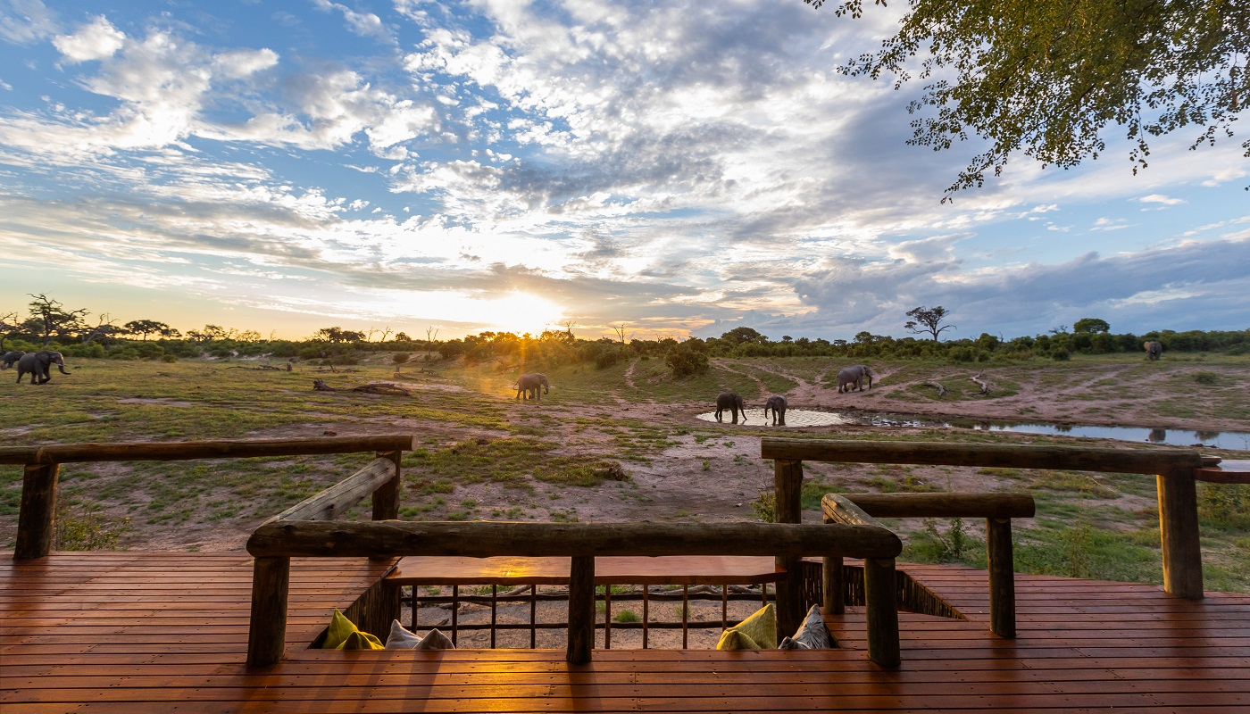 The viewing deck at Savute is amazing for sundowners