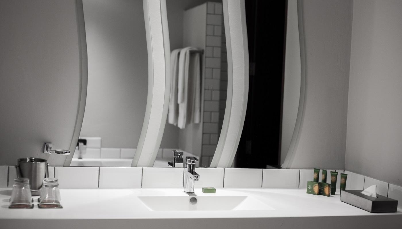 The pristine bathroom