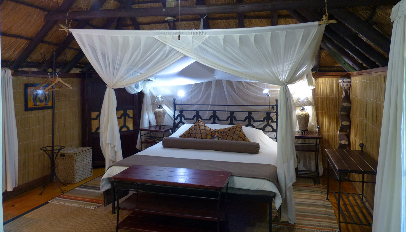 The Double Chalet interior at Kubu Lodge