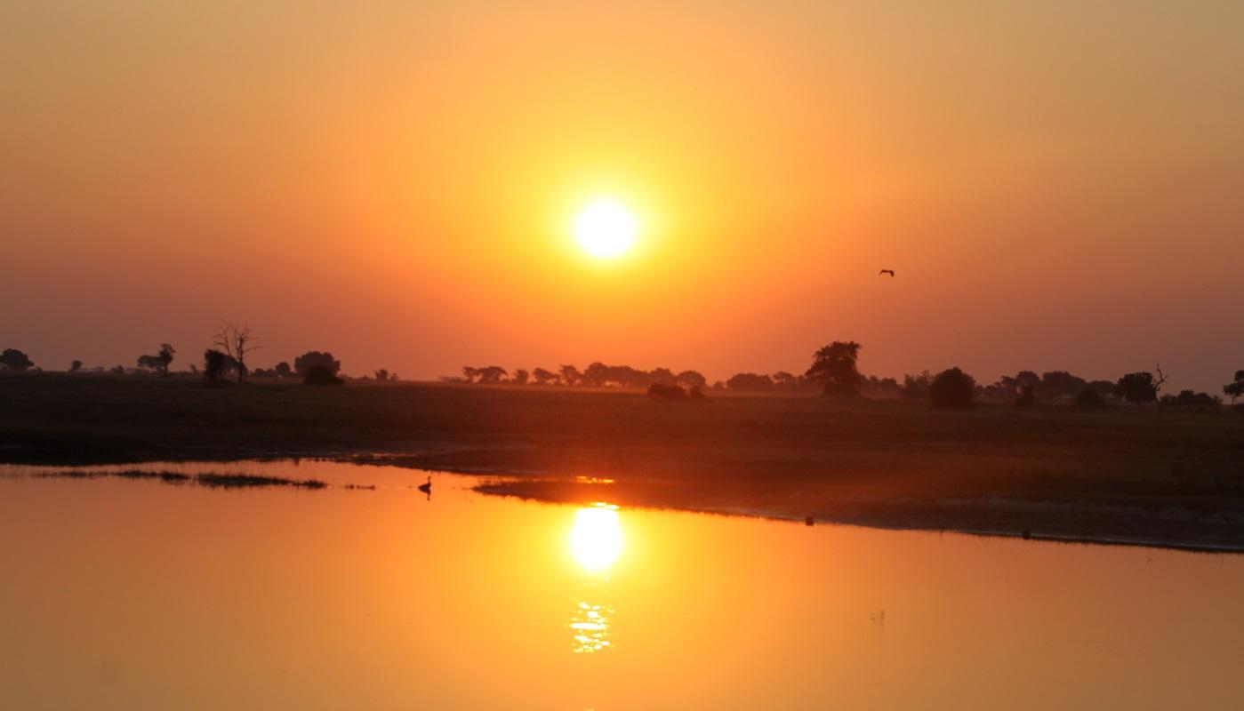 The sun sets over Chobe, Botswana