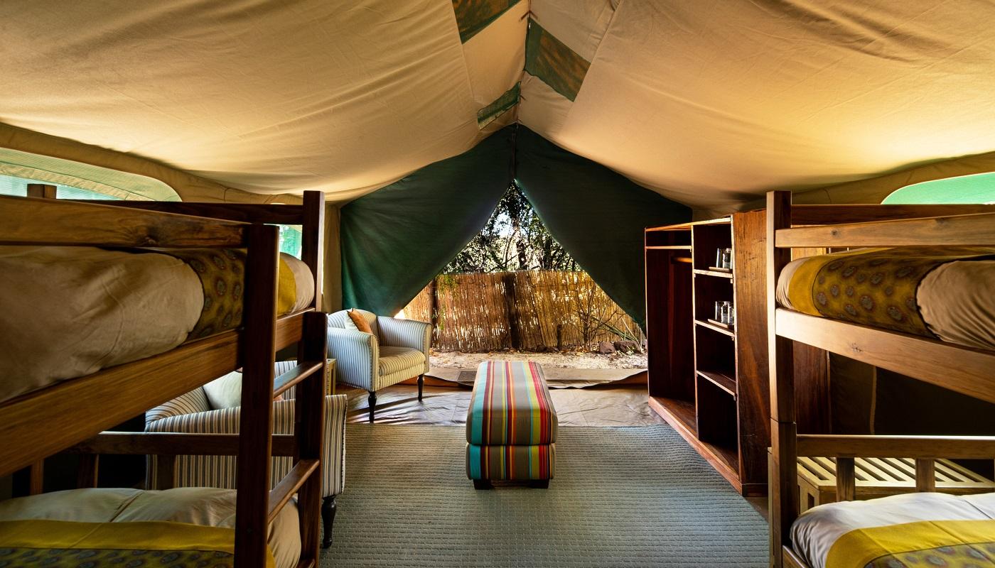 Family tent inside